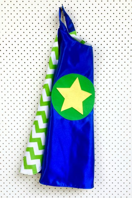 Kids Superhero Cape - Blue with green and white chevron