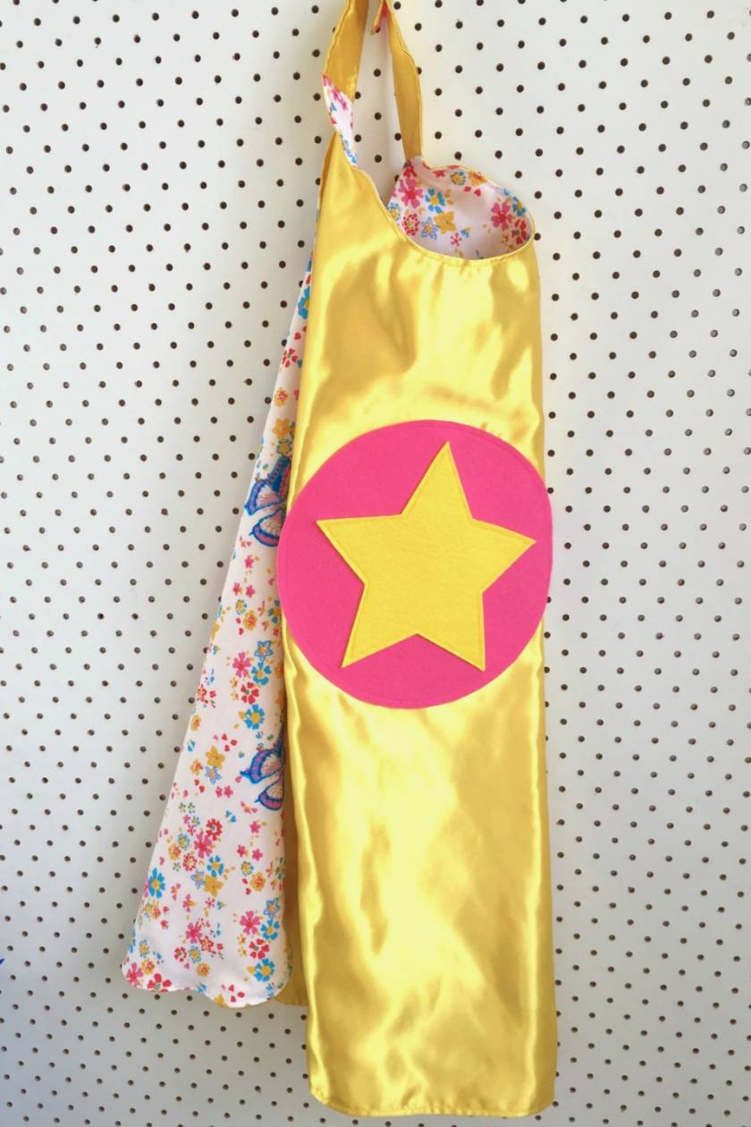 Kids Superhero Cape - Yellow with flowers and butterflies