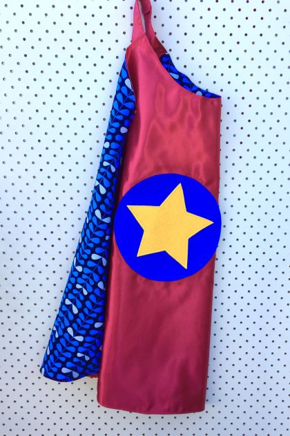 Kids Superhero Cape - Red with Leaf design