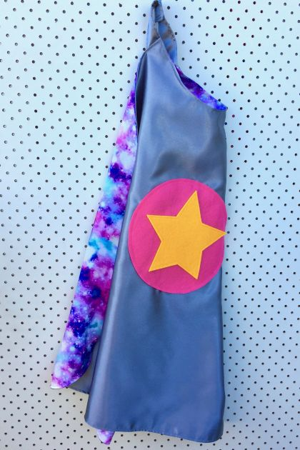 Kids Superhero Cape - Silver with Galaxy print