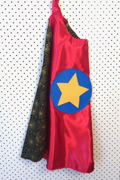 Kids Superhero Cape - Red with Spiderwebs
