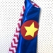 Kids Superhero Cape - Blue with red chevron!