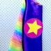 Kids Superhero Cape - Purple with Rainbow stripes