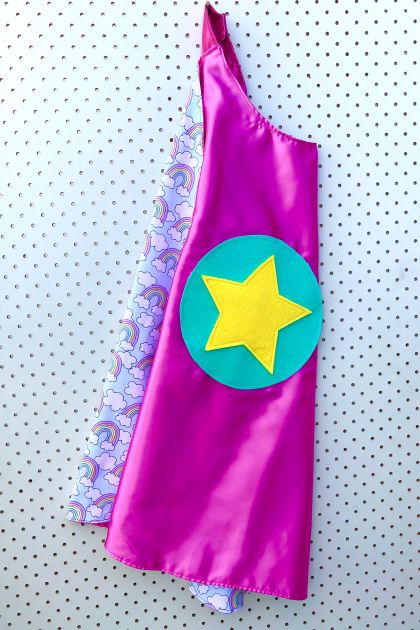 Kids Superhero Cape - pink with rainbows