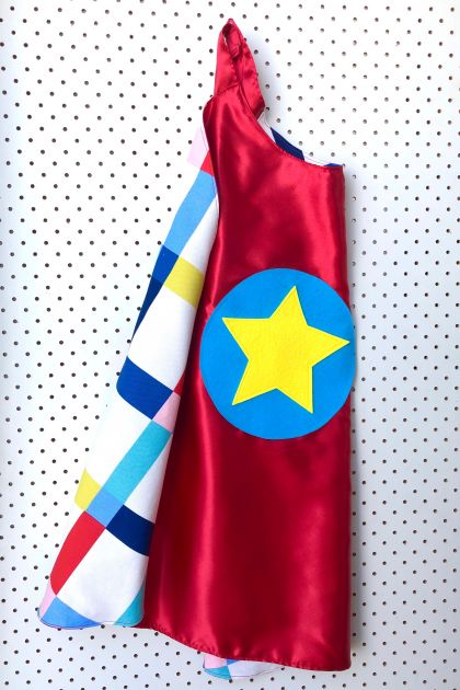 Kids Superhero Cape - Red with Check print