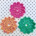 Set of 3 coasters - Pink, Yellow & Green