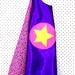 Kids Superhero Cape - Purple with Pink flowers