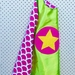 Kids Superhero Cape - green wth pink scales