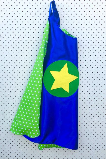 Kids Superhero Cape - Blue with green polka dots