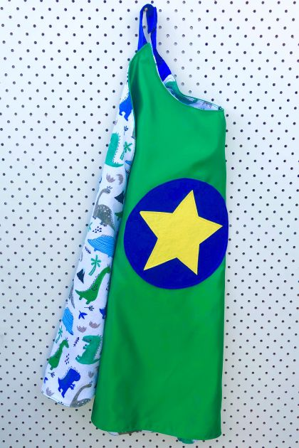 Kids Superhero Cape - Green with Dinosaurs.