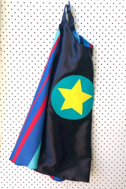 Kids Superhero Cape - Black with striped lining