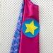 Kids Superhero Cape - pink with blue bold pattern