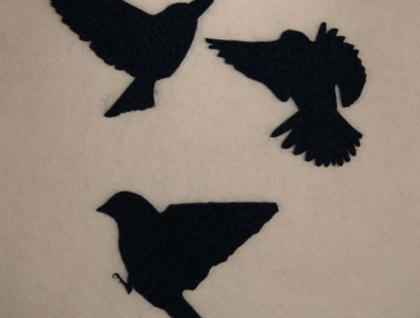3 midnight blue FELT birds in flight