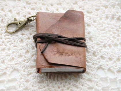 Notes on a Keychain - Mini Brown Leather Journal