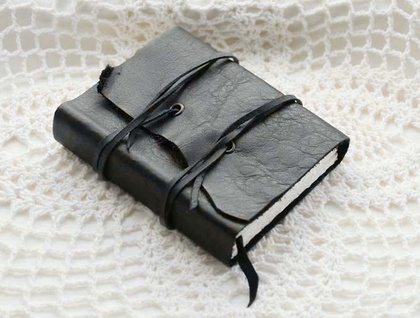 Mini Black Double Leather Wrap Notebook - CUSTOM ORDER FOR SILVERLIGHT