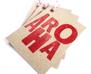 AROHA - Letterpress gift tags on kraft card