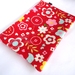 Large Cosmetic Case - Red Retro Floral Oilcloth