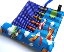 Crayon Roll - Planes/Blue Spots