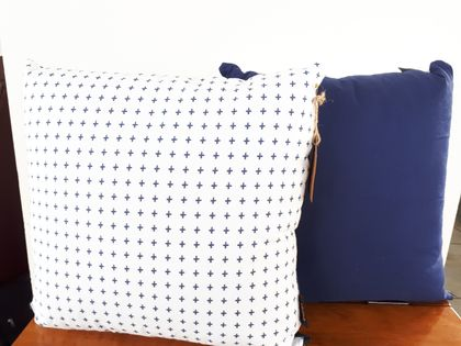 Navy Plus Sign Cushion Covers