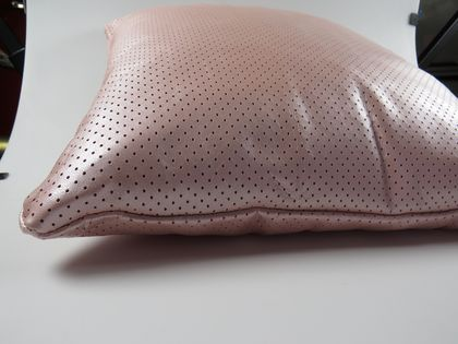 Pearly Pale Pink Perforated Leather Cushion