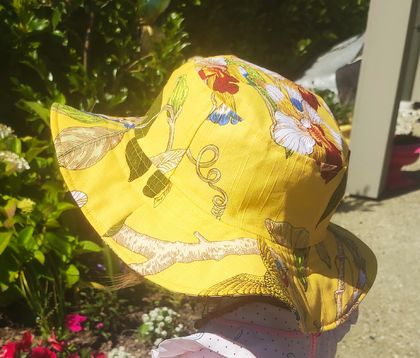 Wide Brim Floppy Hat  * Tropical and Blue * Large