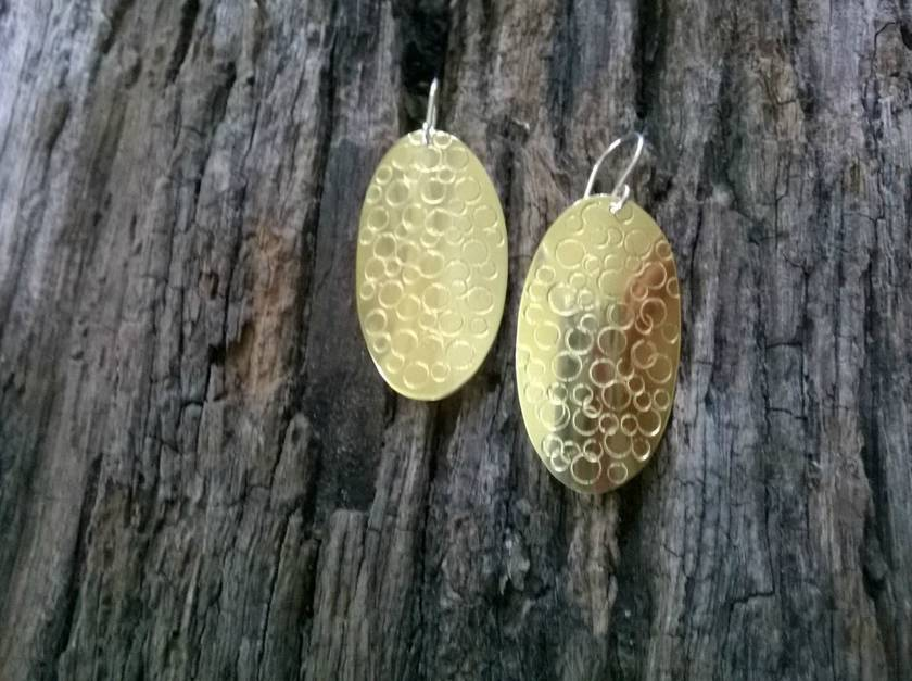 Textured Oval Brass Earrings