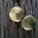 Textured Round Brass Earrings with Green