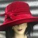 Red Silk Velvet Adjustable Hat