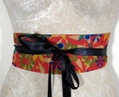 Reversible wrap belt - red floral/black with black ribbon ties