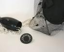 Black leather laser cut doily brooch 5.5cm diameter