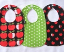 Retro Apple Print Bib Set (CHARITY LISTING)