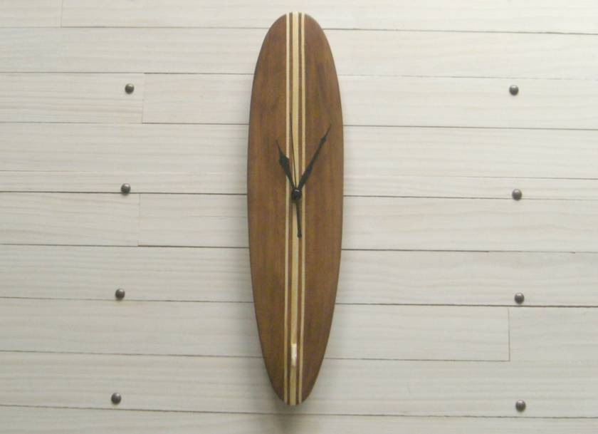 Surfboard clock - Woodstained Tri-stripe Longboard (Made to order)