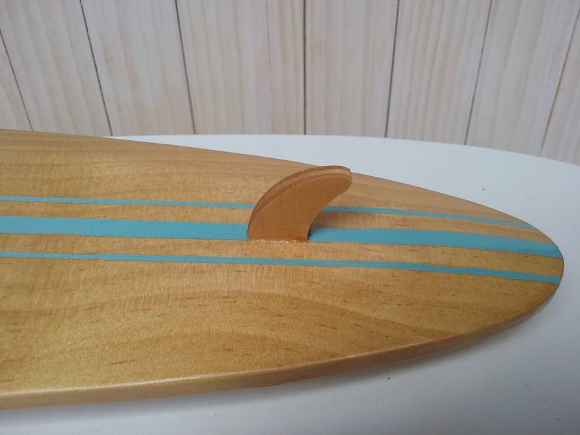 Surfboard clock - Longboard blue stripes (Made to order)