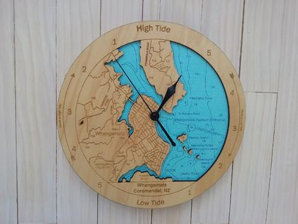 Wooden Tide Clock - Whangamata Harbour detail