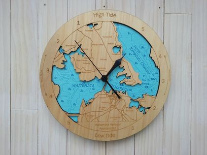 Wooden Tide Clock - Waitemata Harbour detail