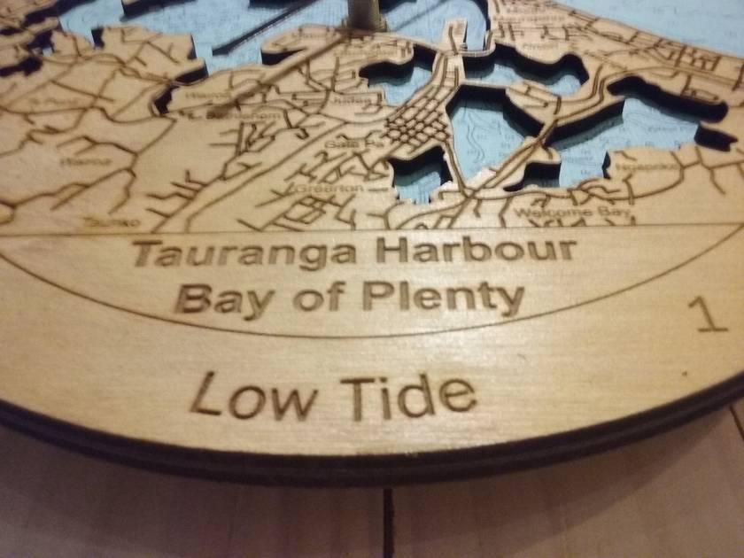 Wooden Tide Clock - Tauranga Harbour detail