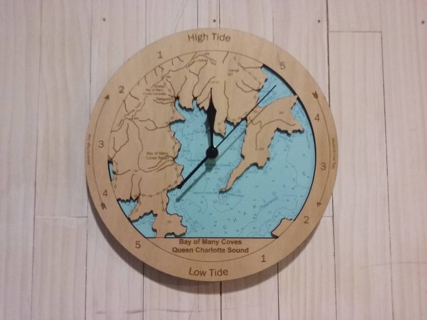 Bay of Many Coves design Tide Clock. Queen Charlotte Sound