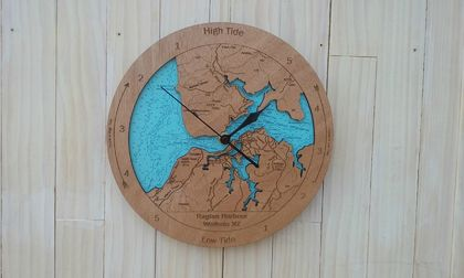 Wooden Tide Clock - Raglan Harbour
