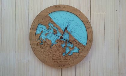 Wooden Tide Clock - Tauranga Harbour detail