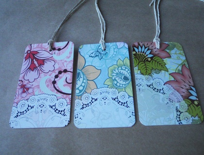 Floral Fancy Gift Tags (set 5) - Green