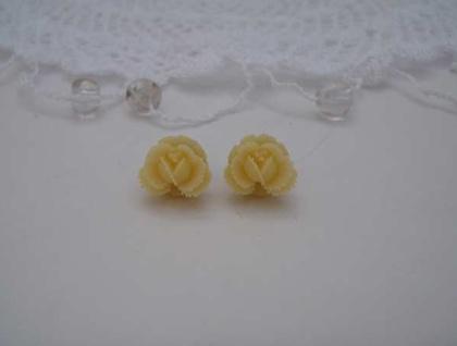 Creme Rose Earrings