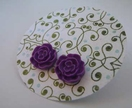 Flat Rose earrings - Deep Purple