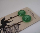 Encore - Light Green Vintage button bobbi pin set