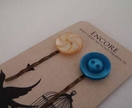 Encore - Teal & Vanilla Swirl vintage button bobbi pin set