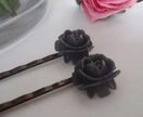 ALL PROCEEDS TO RED CROSS FOR CHC EARTHQUAKE - Rose Hair Slides (2) - Dark Grey