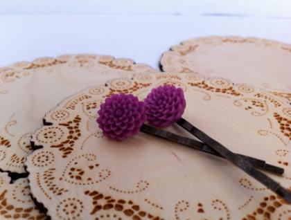 Bobbi Pins - Grape beads on Antique Bronze hair pins