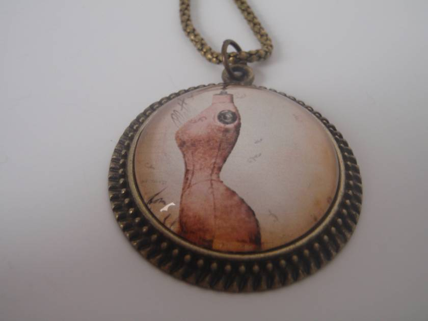 Antique Bronze Pendant - Dressmaker