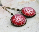 Round Red Damask Earrings