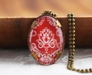 Oval Red Damask Necklace