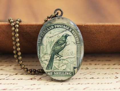 Oval Resin Tui New Zealand Stamp Necklace